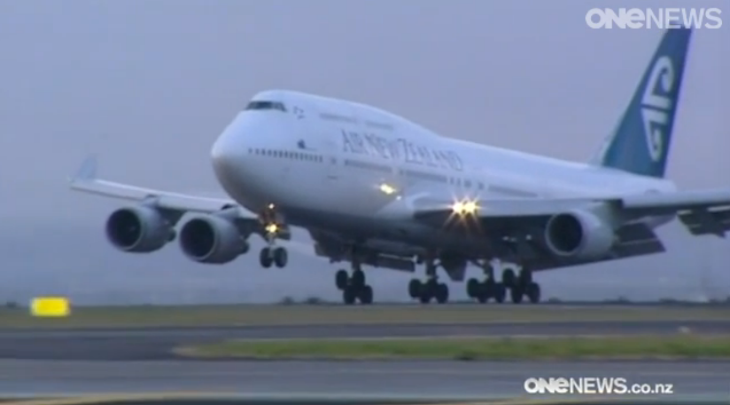 Click to see TVOne news report on Air New Zealand's final 747 flight from SFO