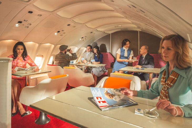 "Passengers retreat to the lounge upstair  ""inside the bubble"" on the Pan Am 747 (Photo: Michael Kelley)"
