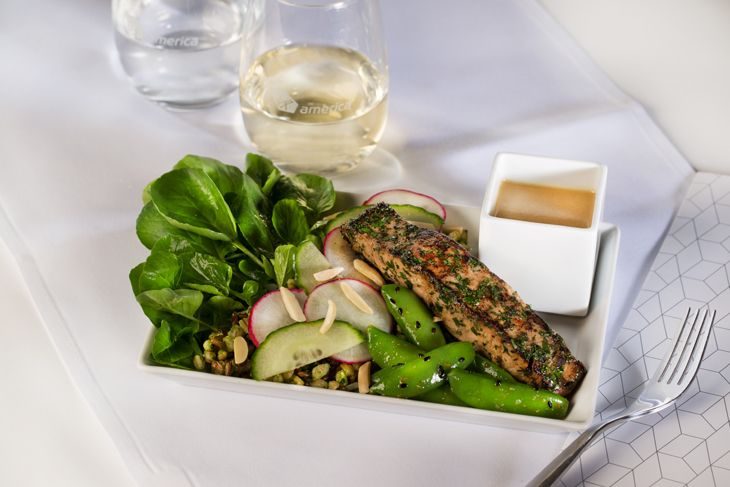 The new soy ginger marinated salmon salad now onboard Virgin America (Photo: Virgin America)