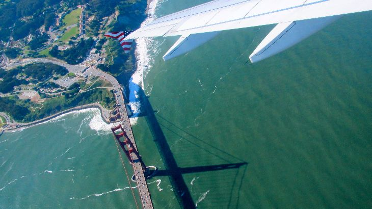 Flying over the Golden Gate Bridge on a Virgin America joy ride (Photo: Chris McGinnis)