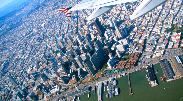 Flying over San Francisco on a Virgin America joy ride (Photo: Chris McGinnis)