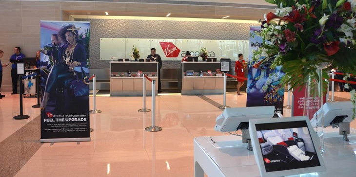 Virgin's first class lounge is located next to it's check in area at Dallas Love, picture here.