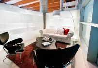 Virgin America's lounge for first class and elevate Gold members is a partitioned area in adjacent to its ticket counters (Virgin America)