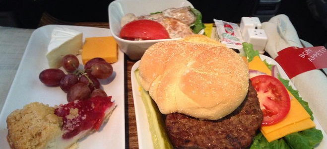 This hamburger served on a Delta ATL-SFO flight was really good! What's the best Delta meal you've ever had? (Photo: Chris McGinnis)