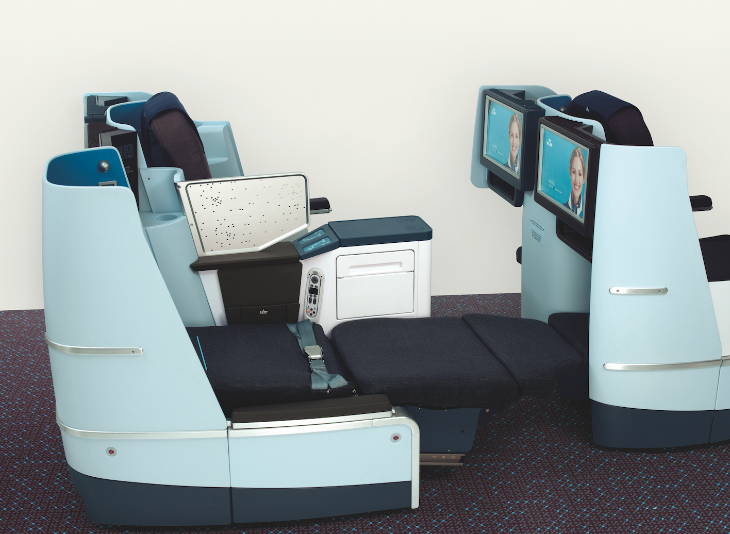 KLM's new lie-flat business class seat-- on sale for holiday trips (Photo: KLM)