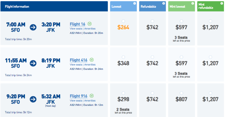 Mid-December fares on JetBlue