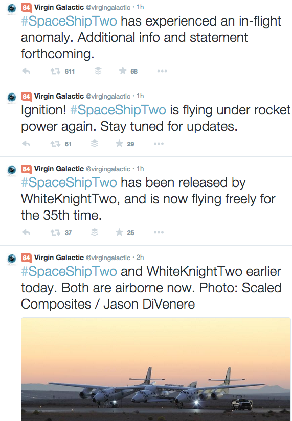 Here's Virgin Galactic twitter feed from this morning