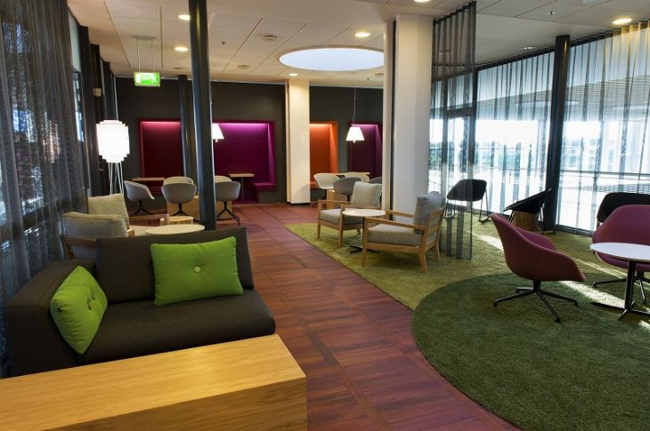 The colorful Servisair lounge at Copenhagen airport