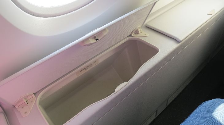 Nice big storage bins reserved for window-seat flyers (Photo: Chris McGinnis)