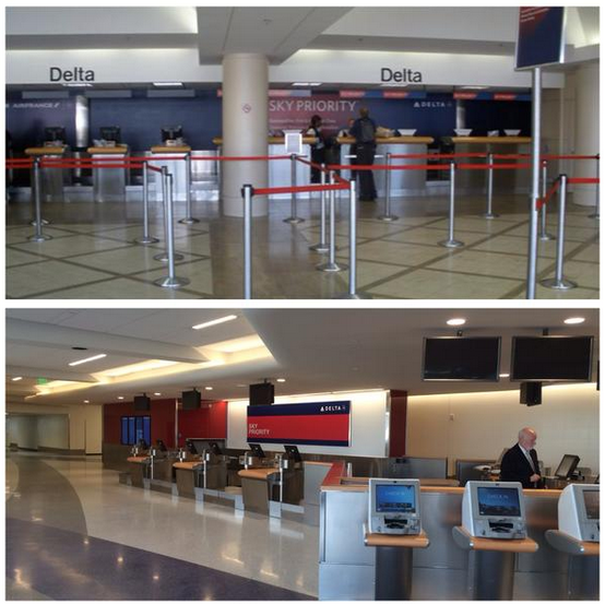 Delta's Sky Prority lobby at LAX efore (above) and after (below)