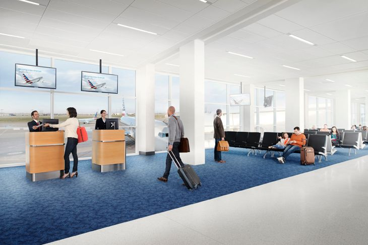 Here's a rendering of American's new look at the airport