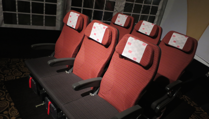JAL's new Sky Wider economy class seat feels a lot more comfortable than it looks in this photo (Chris McGinnis)