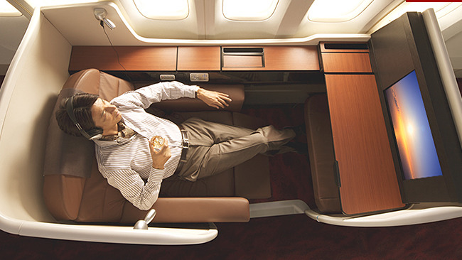 JAL's spacious leather and wood trimmed first class sanctuary (Photo: JAL)