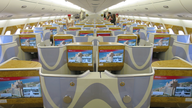 A sea of business class seats on the A380 upper deck-- 76 of them, all true lie-flat (Photo: Chris McGinnis(