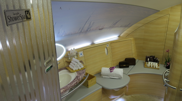 Entering the shower spa. Ever seen a airplane lavatory like this? (Photo: Chris McGinnis)