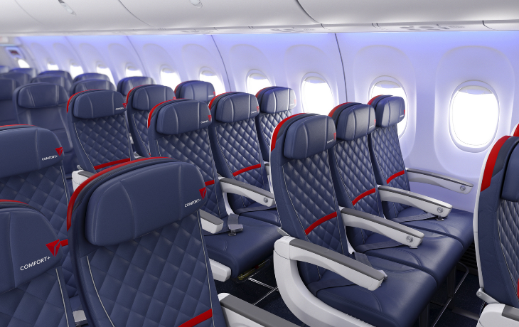 New quilted seat covers on Delta's rebranded Comfort+ cabin (Photo: Delta)