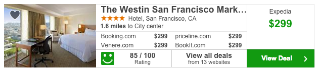 Trivago found a rate of $299 at the Westin San Francisco on our sample search for Weds Dec 17