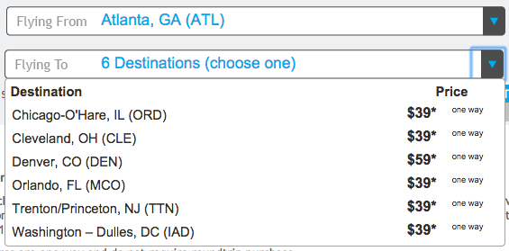Frontier's deals are not just from Atlanta, but these are good deals!