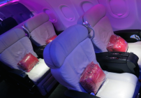 Four of the 8 seats in Virgin America's first class section (Photo: Chris McGinnis)