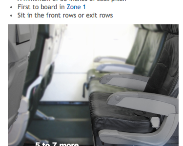 """Business travelers may want to consider Frontier's """"Stretch seats"""" which offer more legroom (Image: Frontier Airlines)"""