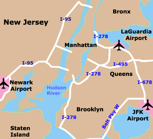 New York City's three primary airports: Newark, LaGuardia, Kennedy