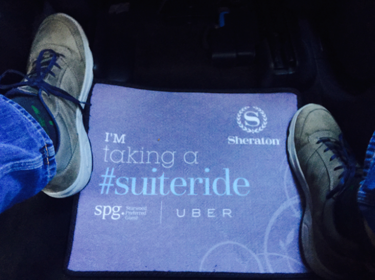 Special branded floormats in the Uber that picked me up (Photo: Chris McGinnis)