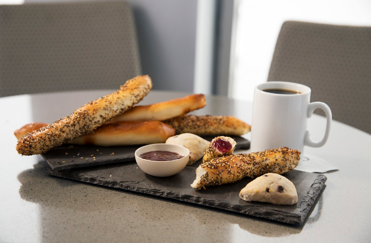 "Breakfast scones and ""bagel sticks"" are part of the new breakfast menu coming to United Clubs (Photo: United)"