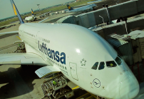 Lufthansa's A380 maiden FRA-SFO voyage loads up in 2011 (Photo: Chris McGinnis)