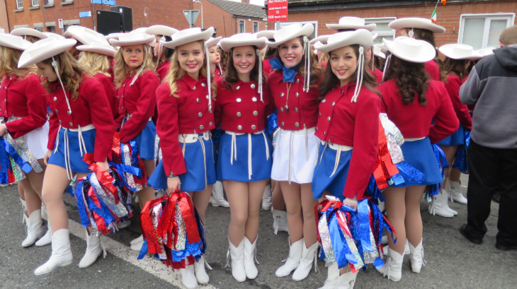 Nearly all bands and drill teams in the parade are from the US- these girls are from Texas (Chris McGinnis)
