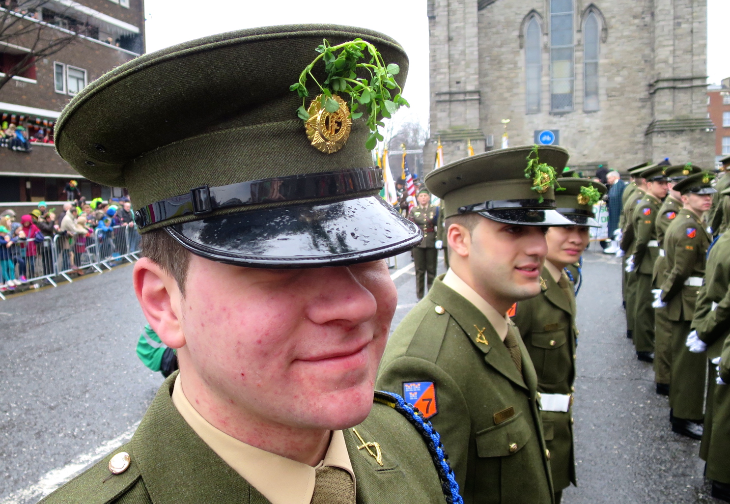 A small cadre of new recruits wear a spring of shamrock on their hats. Others wore it as bouttonieres. (Chris McGinnis)