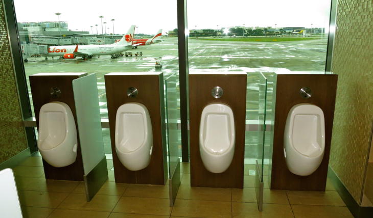 Our famous photo of the updated men's room with a view at Singapore Changi Airport (Photo: Chris McGinnis)