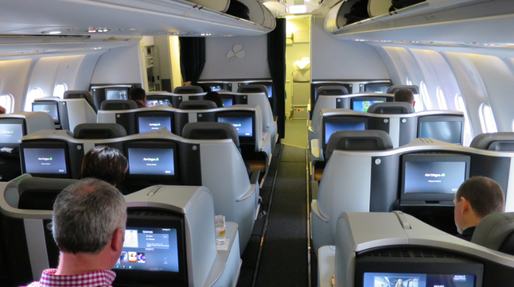 A wide variety of seat types in the new Aer Lingus business class cabin (Photo: Chris McGinnis)