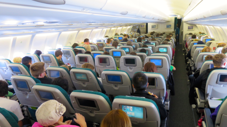 Economy class seats on Aer Lingus A330 are arranged 2-4-2 (Chris McGinnis)