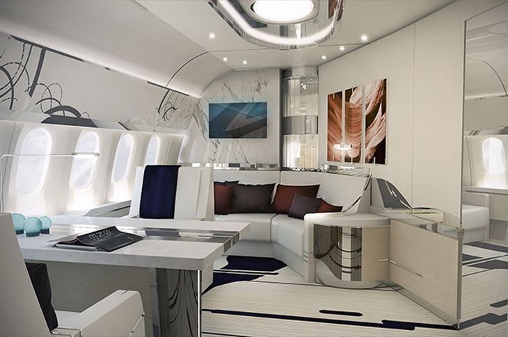 There's plenty of room for guests and wall art in the 787-9's VIP office.