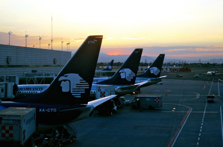 Aeromexico jets load up a Mexico City's Benito Juarez International Airport (Chris McGinnis)