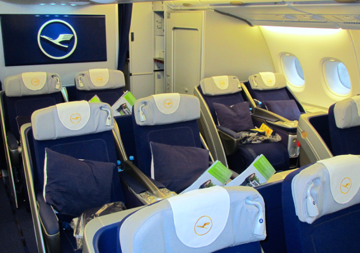 "Lufthansa's A380 business class seats are regrettably of the ""angled"" lie flat variety (Photo: Chris McGinnis)"