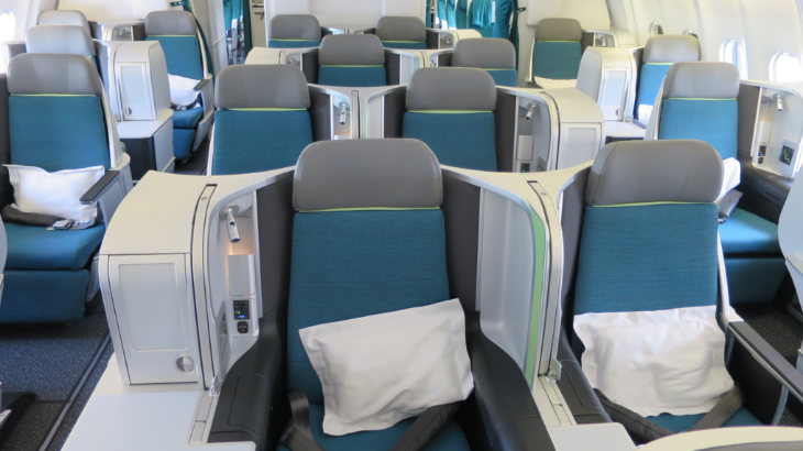 Aer Lingus's new lie flat business class seats on an A330-200 (Chris McGinnis)