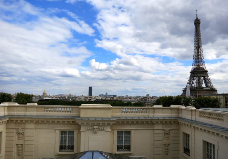 Even perennially popular Paris is 17% cheaper this year. View from the Shangri-La hotel (Chris McGinnis)
