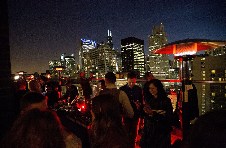 Party scene on the roof of the brand new Virgin Hotel Chicago