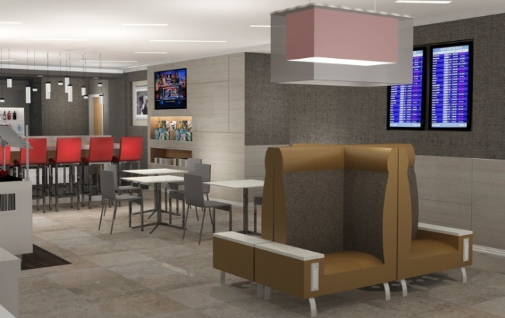 "Here's a rendering of the Admirals Club ""new look"" coming to PHX (American Airlines)"
