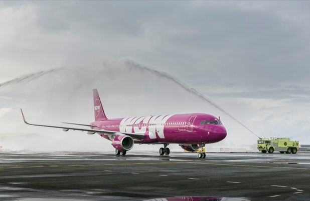 Wow Air flies A321s like this one from Iceland to Boston and soon to Baltimore/Washington. (Image: Wow Air)