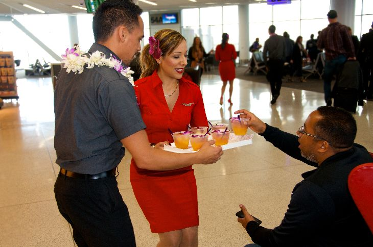 Free mai tais at SFO's Terminal 2 today to celebrate Virgin's new Hawaii flights (Photo: Virgin America)