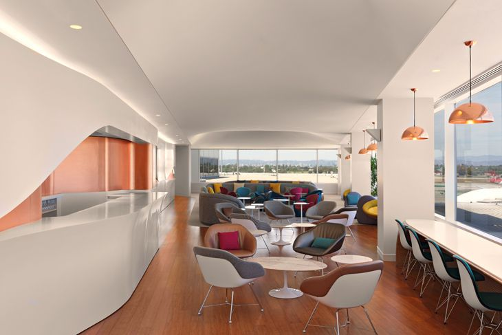 Virgin's new LAX Clubhouse has views of the runway and the Hollywood Hills.