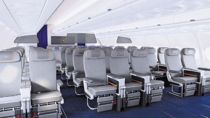 See that nice wide console between each premium economy seat? (Image: Lufthansa)