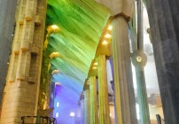 Gorgeous light thru new stained glass inside the Sagrada Familia Cathedral in Barcelona (Photo: Chris McGinnis)