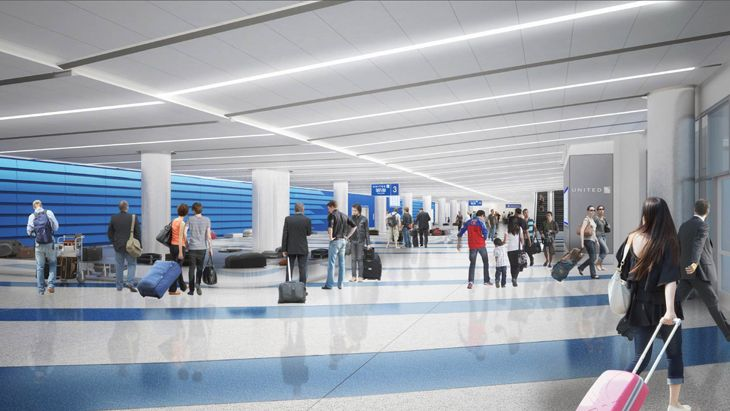 New United bag claim area at LAX after renovations. (Image: United)