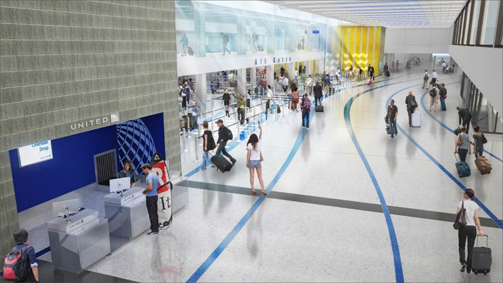 Entrance to United's new security screening area at LAX. (Image: United)