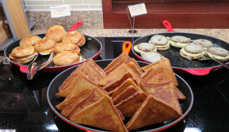 A big hearty and free breakfast served each morning in the Hyatt Place lobby.