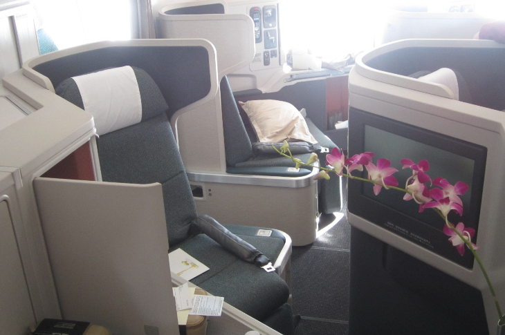 "Business class on a brand new Boeing 777-300ER- with that ""new plane"" smell (Photo: Ramsey Qubein("