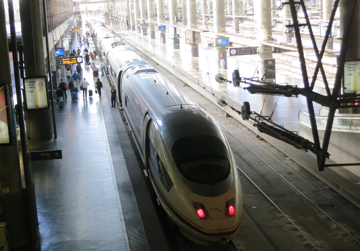 Spain's Renfe AVE high speed train preparing to depart Madrid Atocha (Chris McGinnis)